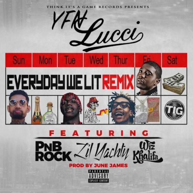 YFN Lucci Ft. PnB Rock, Lil Yachty & Wiz Khalifa – Everyday We Lit (Remix)